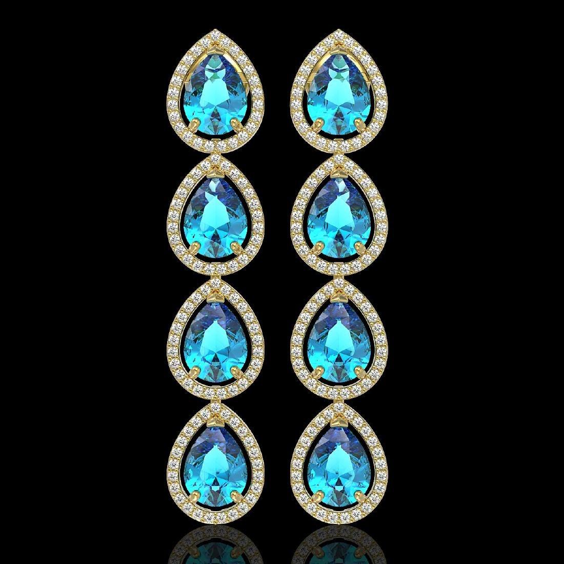 10.8 CTW Swiss Topaz & Diamond Halo Earrings 10K Yellow