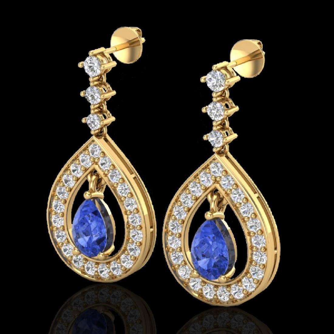 2.25 CTW Tanzanite & Micro Pave VS/SI Diamond Earrings
