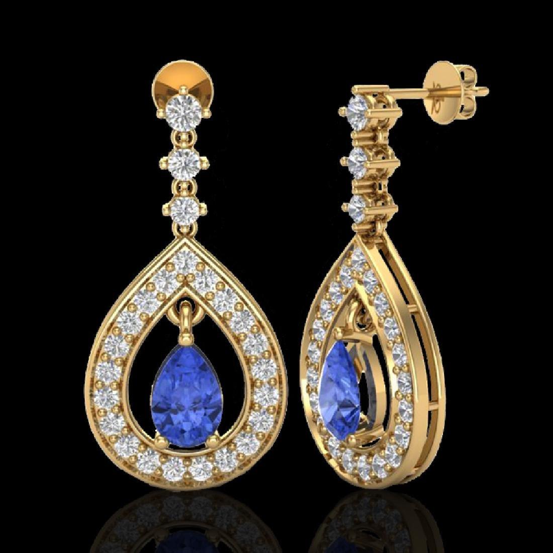 2.25 CTW Tanzanite & Micro Pave VS/SI Diamond Earrings - 2