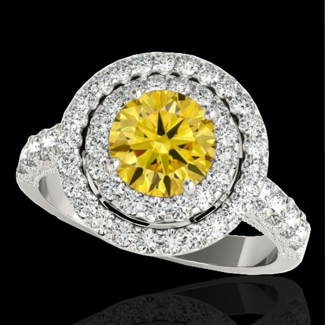 3 CTW Certified SI/I Fancy Intense Yellow Diamond