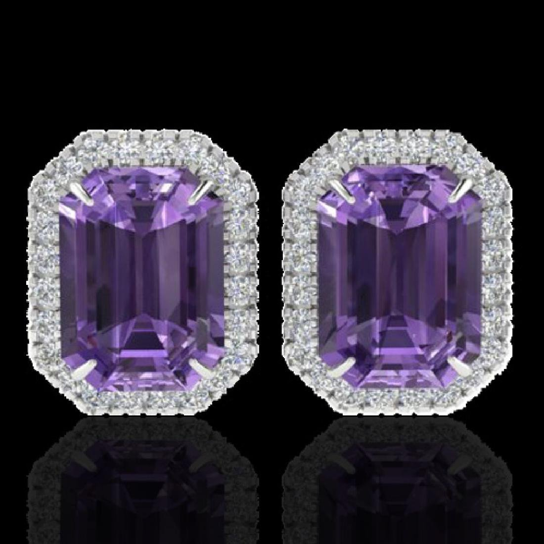 9.40 CTW Amethyst & Micro Pave VS/SI Diamond Halo