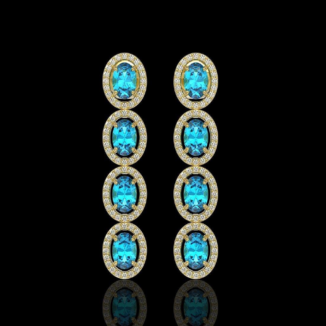 6.28 CTW Swiss Topaz & Diamond Halo Earrings 10K Yellow