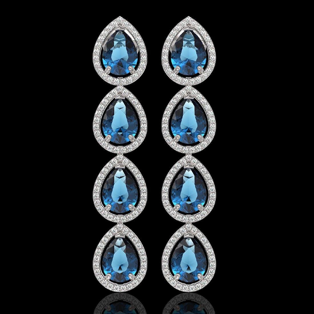 11.2 CTW London Topaz & Diamond Halo Earrings 10K White
