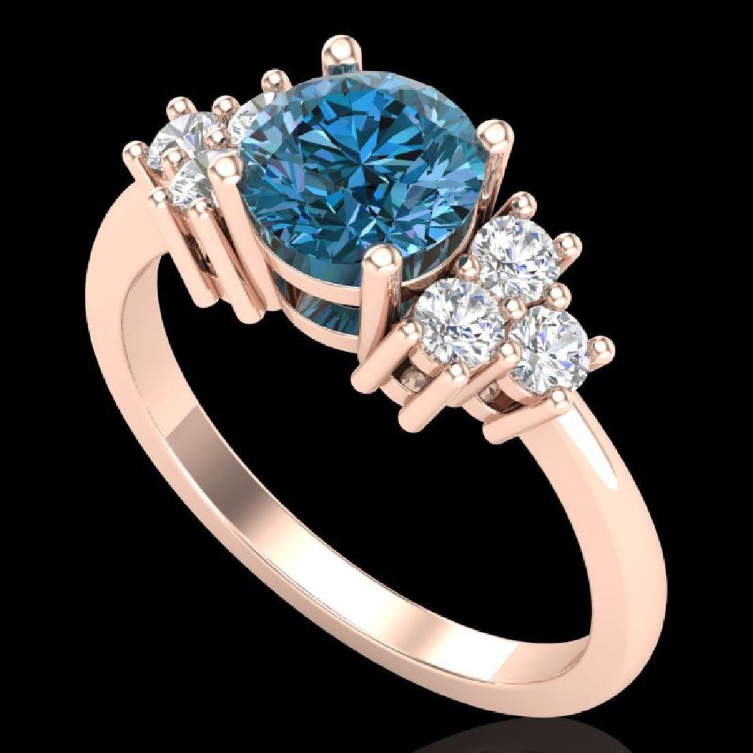 1.5 CTW Intense Blue Diamond Solitaire Engagement
