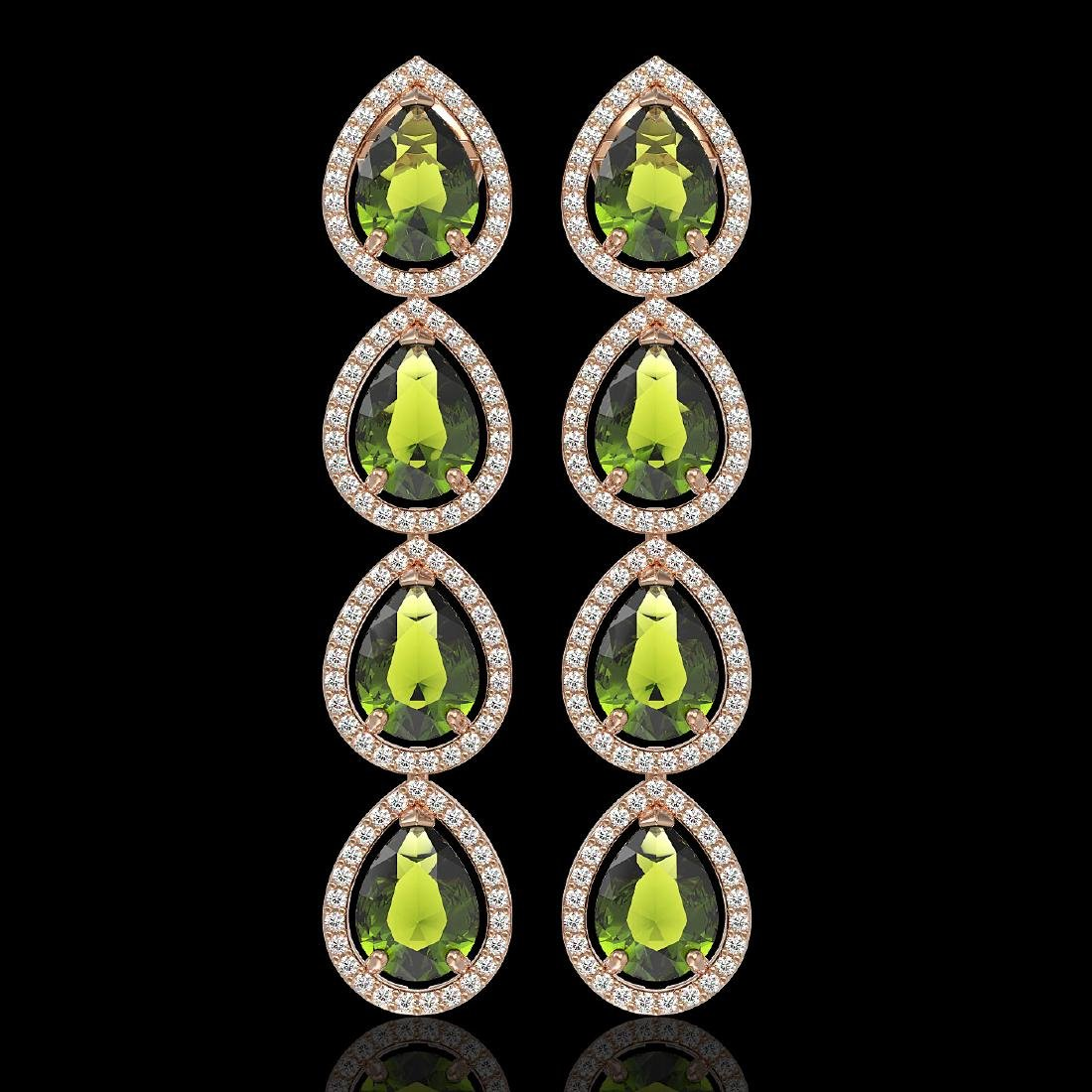 10.48 CTW Tourmaline & Diamond Halo Earrings 10K Rose