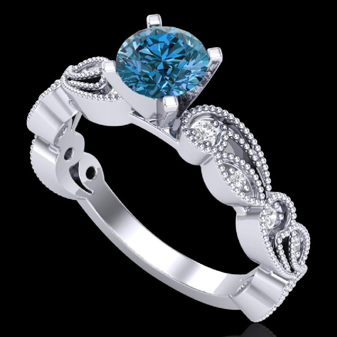 1.01 CTW Fancy Intense Blue Diamond Solitaire Art Deco