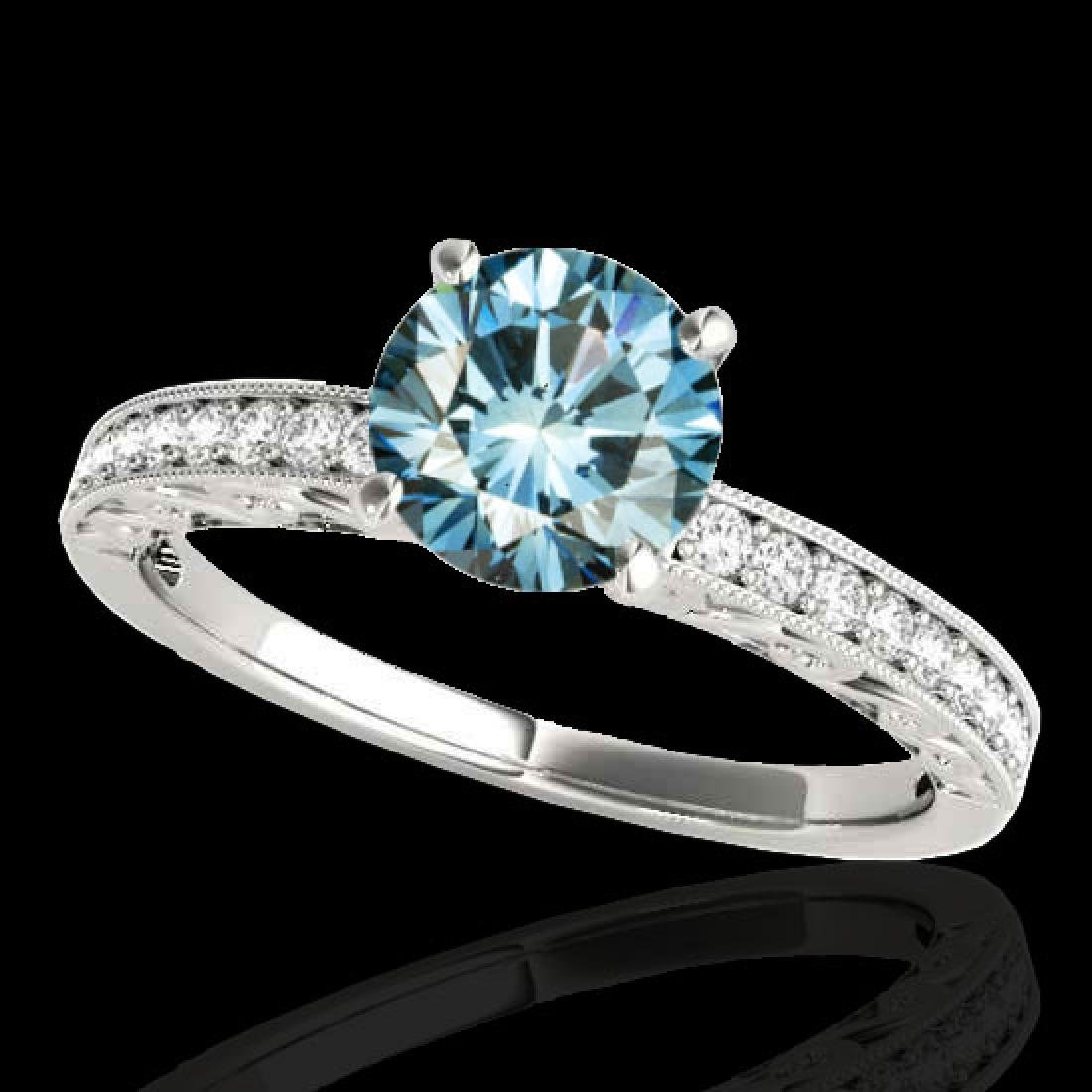 1.18 CTW SI Certified Blue Diamond Solitaire Antique