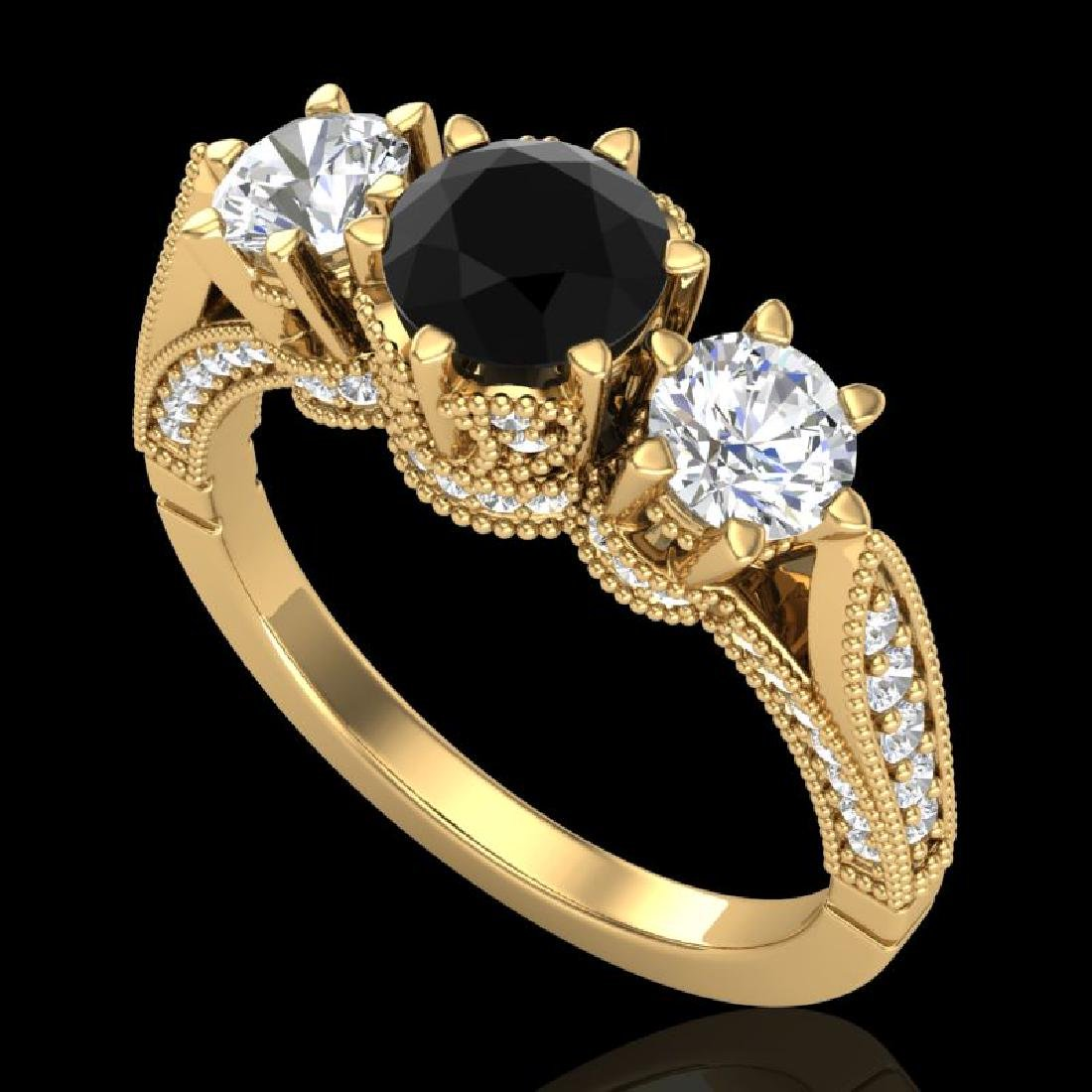 2.18 CTW Fancy Black Diamond Solitaire Art Deco 3 Stone