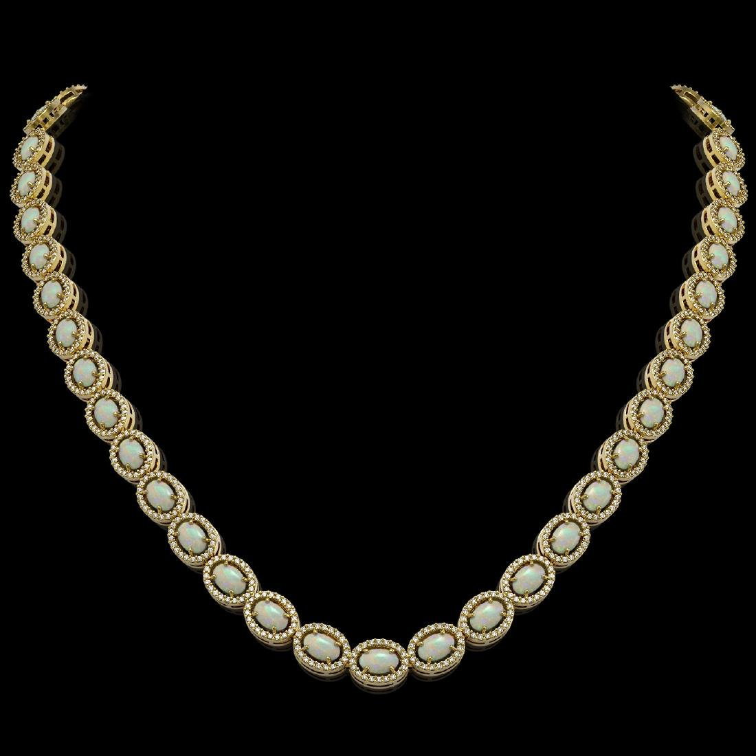 21.21 CTW Opal & Diamond Halo Necklace 10K Yellow Gold