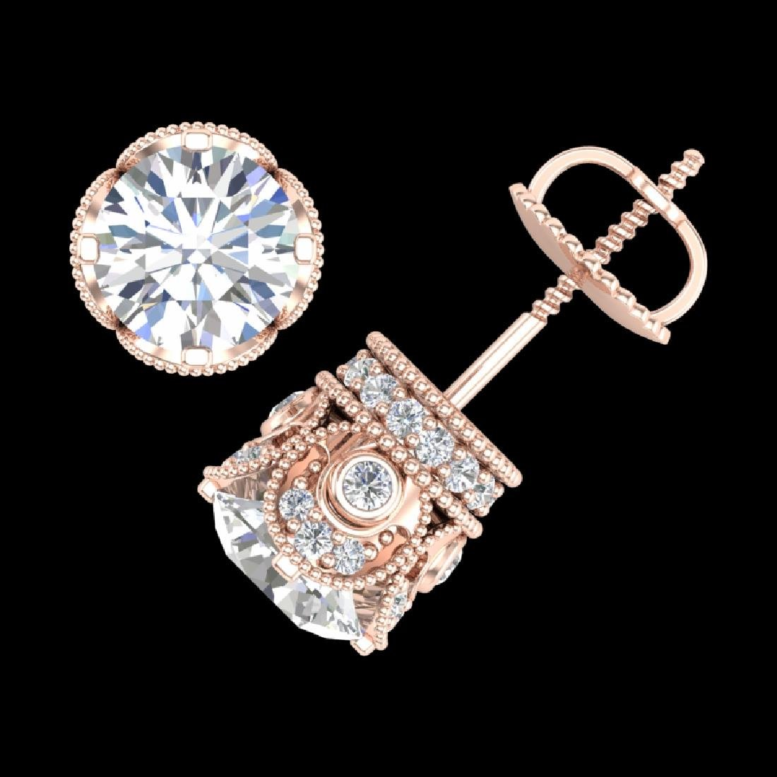 3 CTW VS/SI Diamond Solitaire Art Deco Stud Earrings