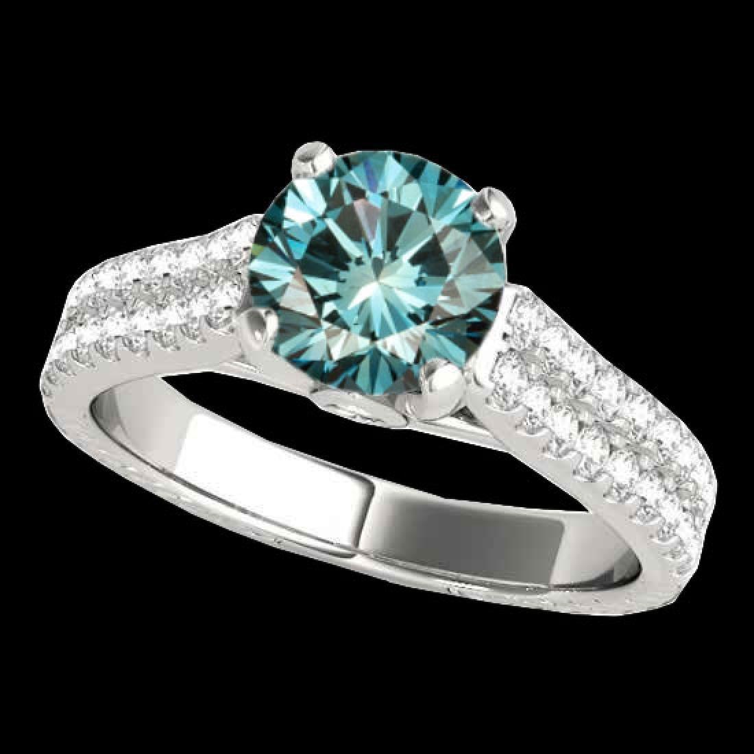 2.11 CTW SI Certified Fancy Blue Diamond Pave Ring 10K