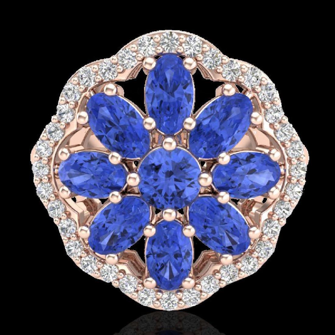 3 CTW Tanzanite & VS/SI Diamond Cluster Designer Halo - 2
