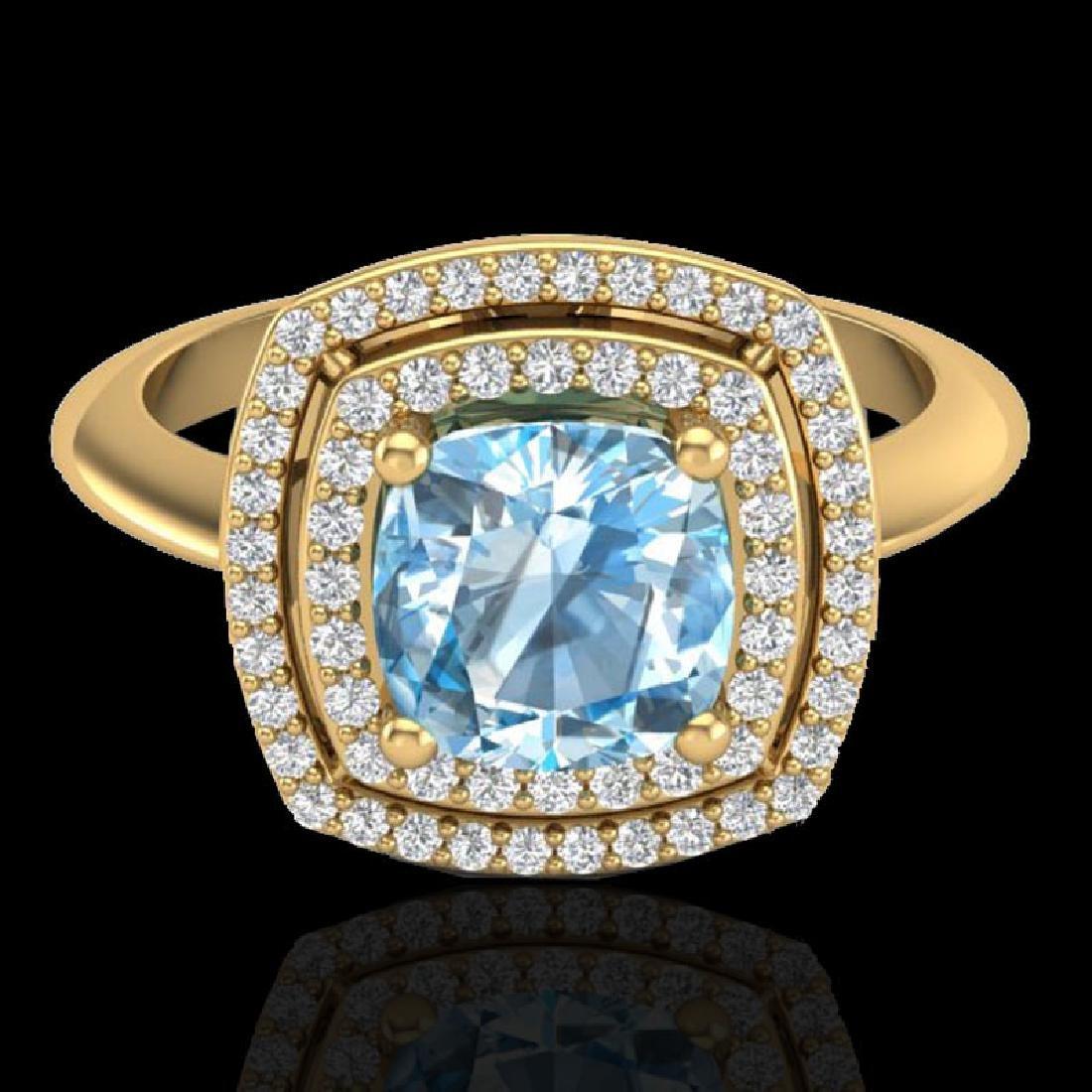 2.02 CTW Sky Blue Topaz & Micro VS/SI Diamond Halo Ring
