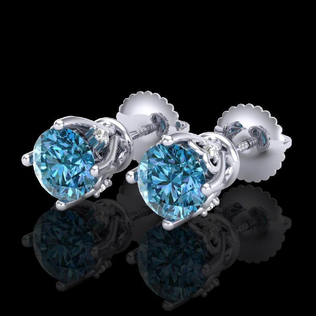 1.26 CTW Fancy Intense Blue Diamond Art Deco Stud