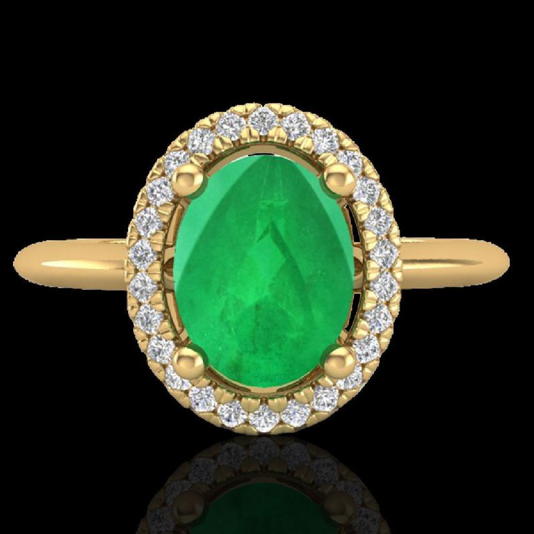 2 CTW Emerald & Micro Pave VS/SI Diamond Ring Solitaire