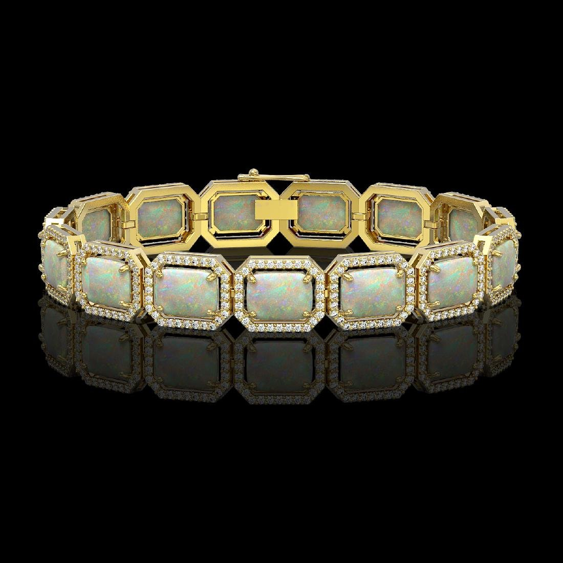 24.37 CTW Opal & Diamond Halo Bracelet 10K Yellow Gold