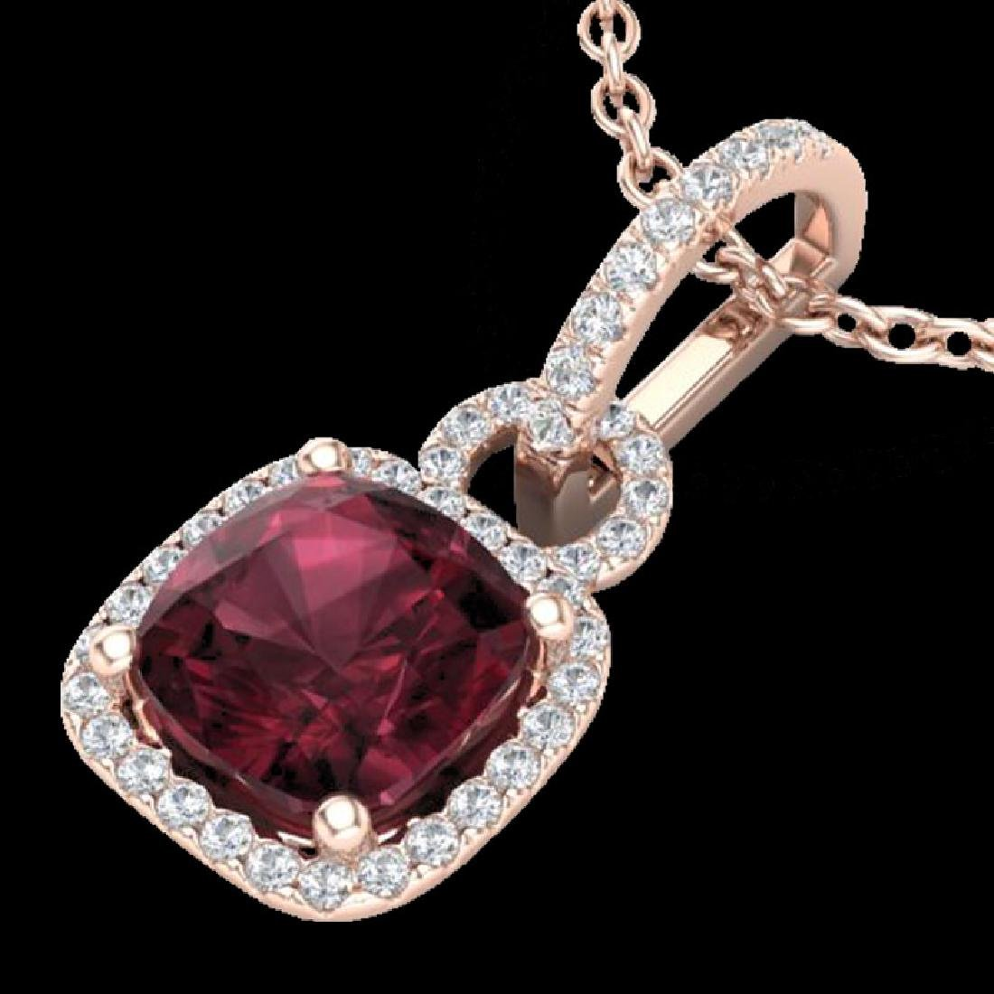 3.50 CTW Garnet & Micro VS/SI Diamond Necklace 14K Rose