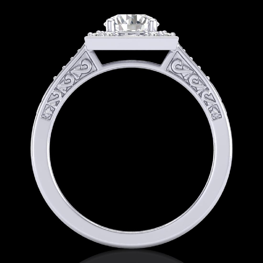 1.1 CTW VS/SI Diamond Art Deco Ring 18K White Gold