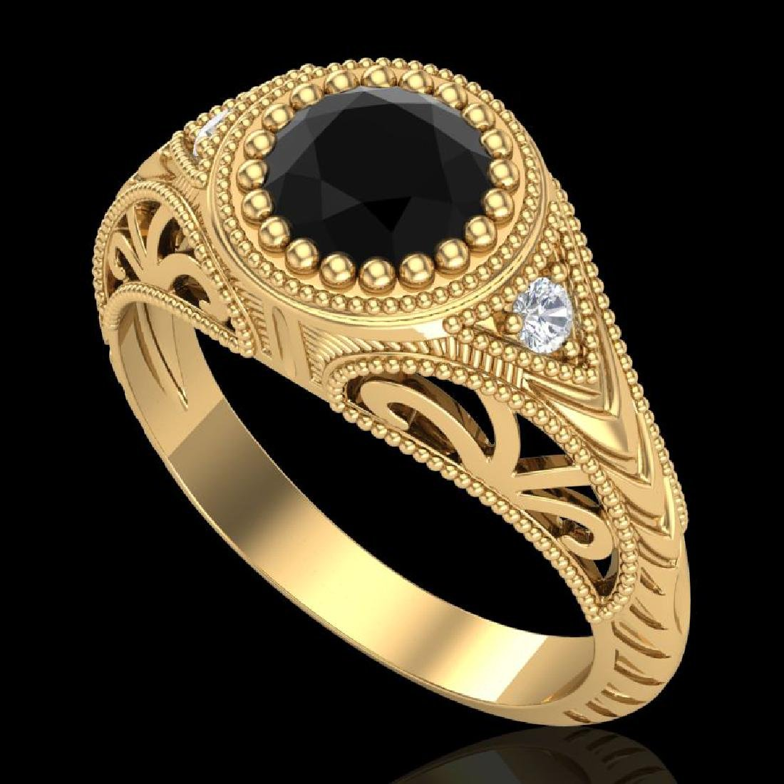 1.07 CTW Fancy Black Diamond Solitaire Engagement Art