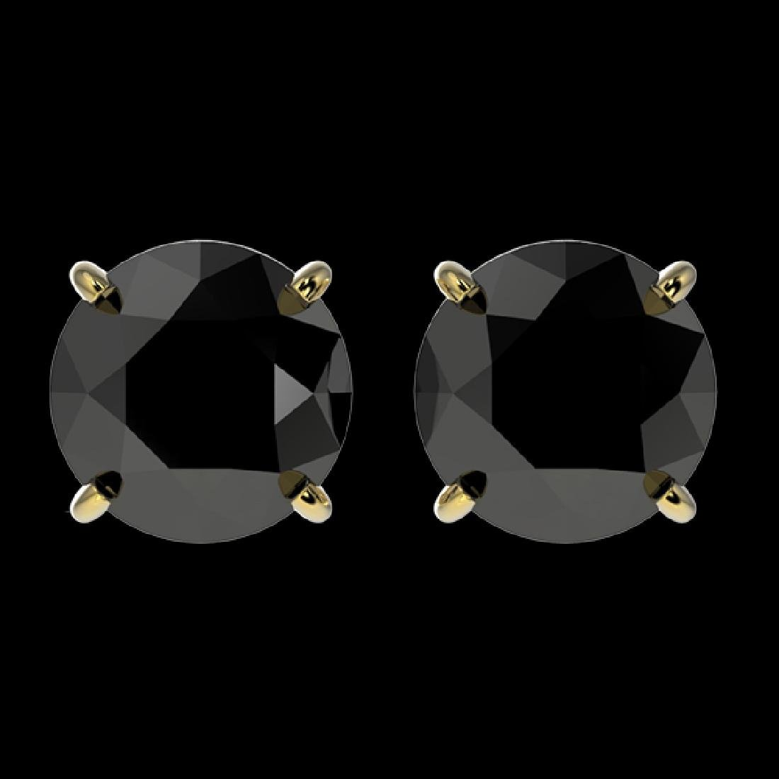 2 CTW Fancy Black VS Diamond Solitaire Stud Earrings