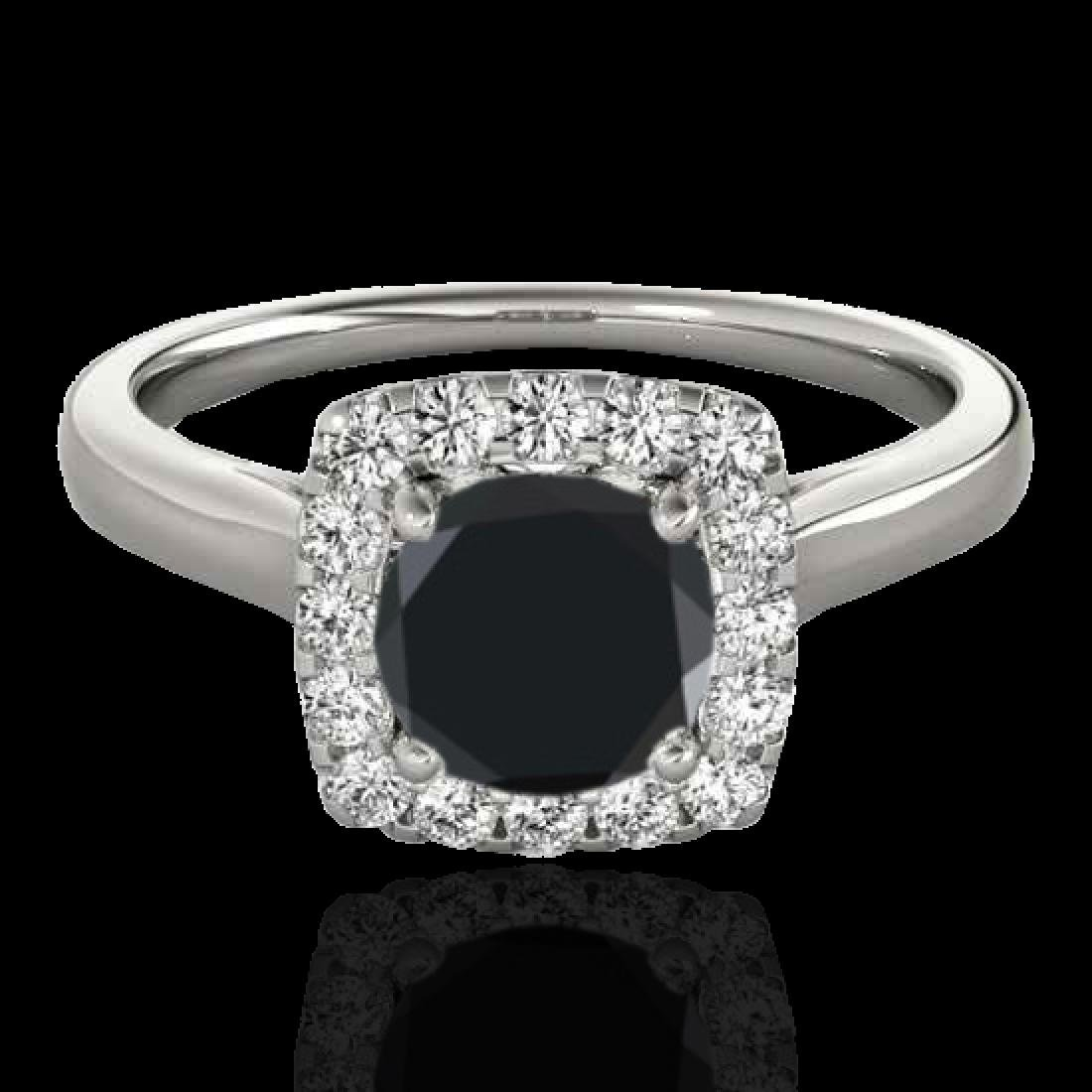 1.37 CTW Certified VS Black Diamond Solitaire Halo Ring
