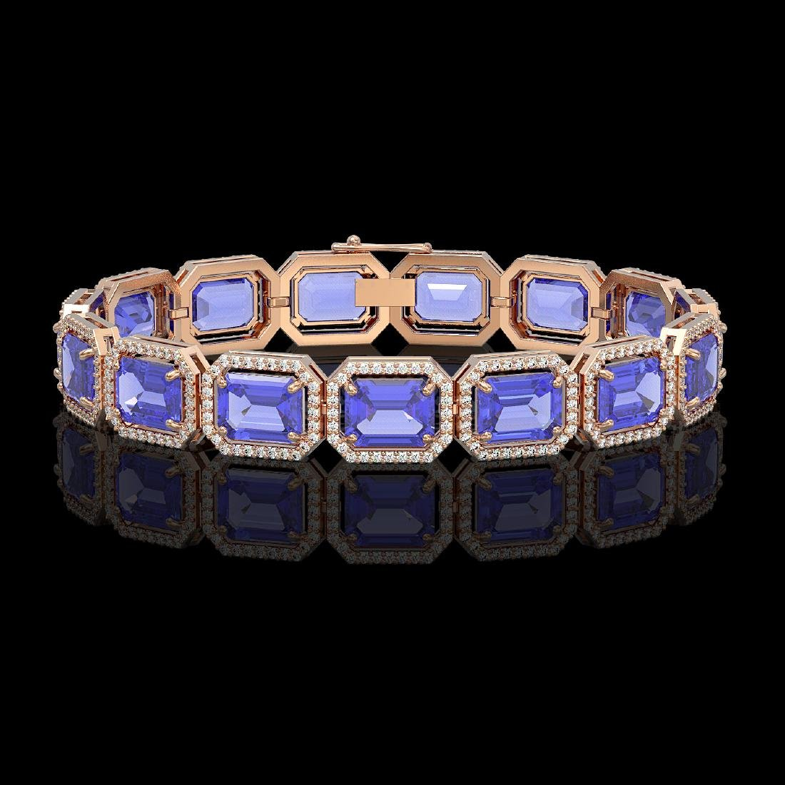 36.37 CTW Tanzanite & Diamond Halo Bracelet 10K Rose