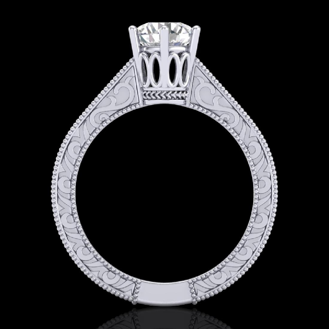 1 CTW VS/SI Diamond Solitaire Art Deco Ring 18K White