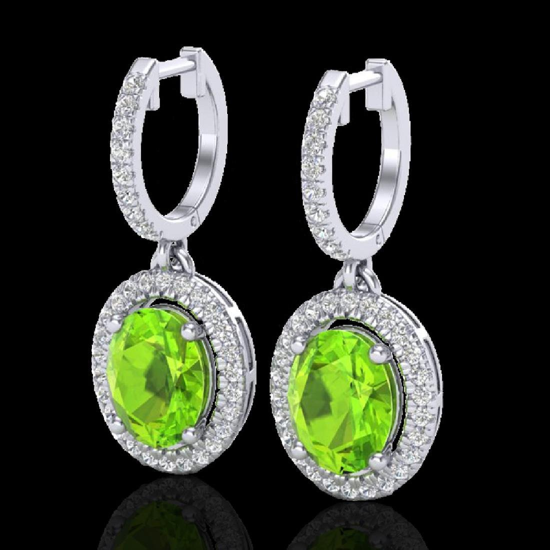3.75 CTW Peridot & Micro Pave VS/SI Diamond Earrings