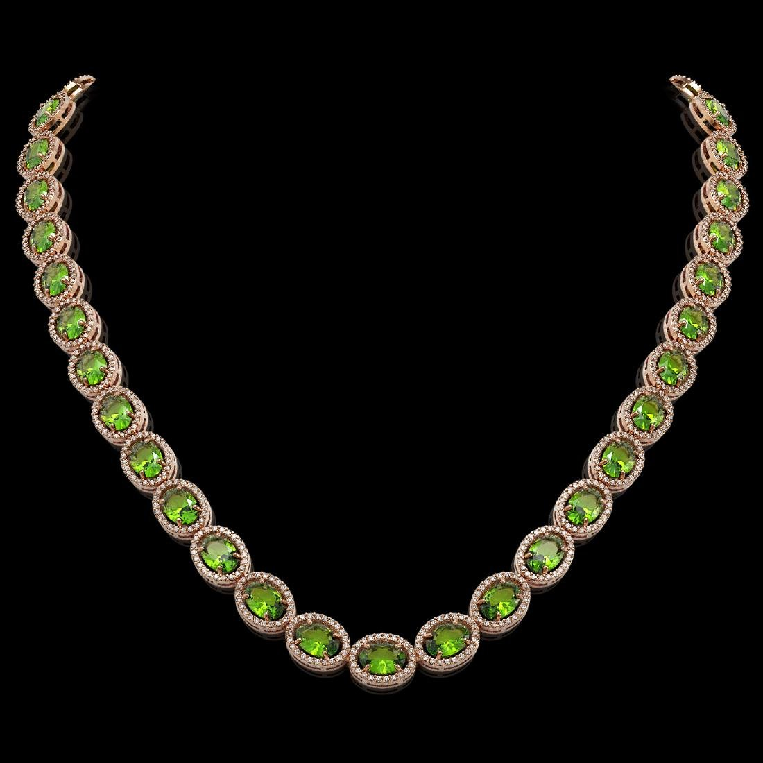 48.14 CTW Peridot & Diamond Halo Necklace 10K Rose Gold