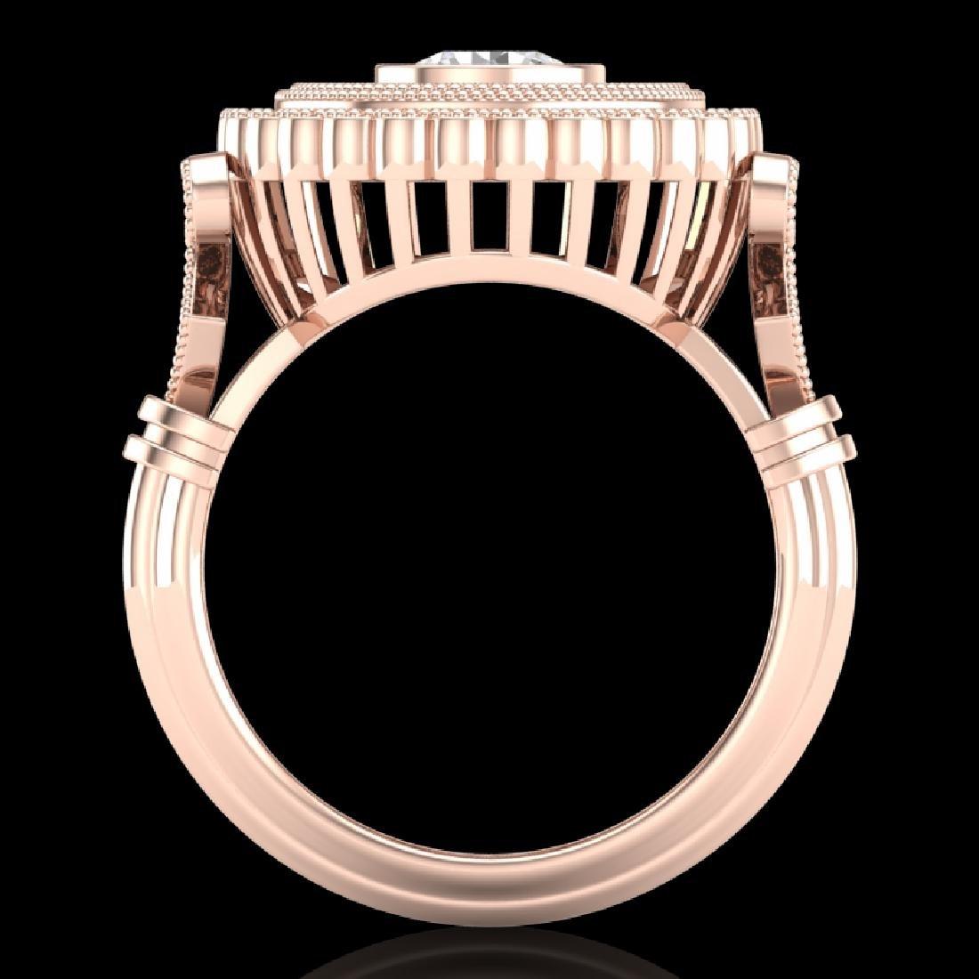 2.03 CTW VS/SI Diamond Solitaire Art Deco Ring 18K Rose