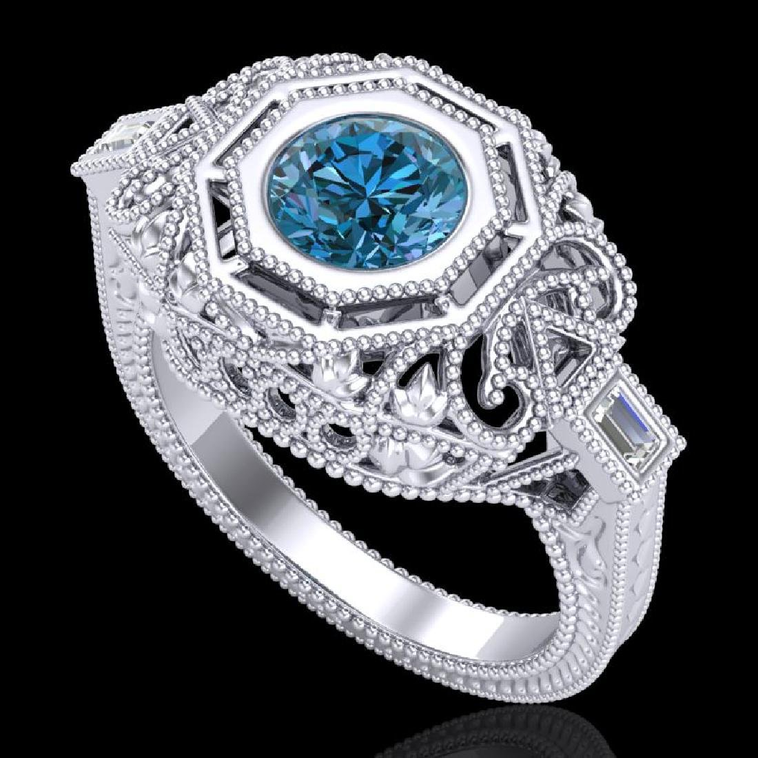 1.13 CTW Fancy Intense Blue Diamond Solitaire Art Deco