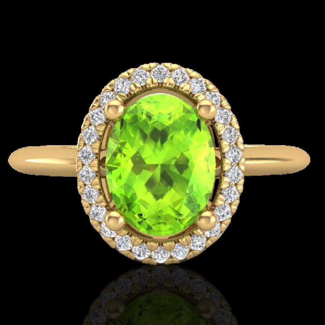 1.75 CTW Peridot & Micro VS/SI Diamond Ring Solitaire