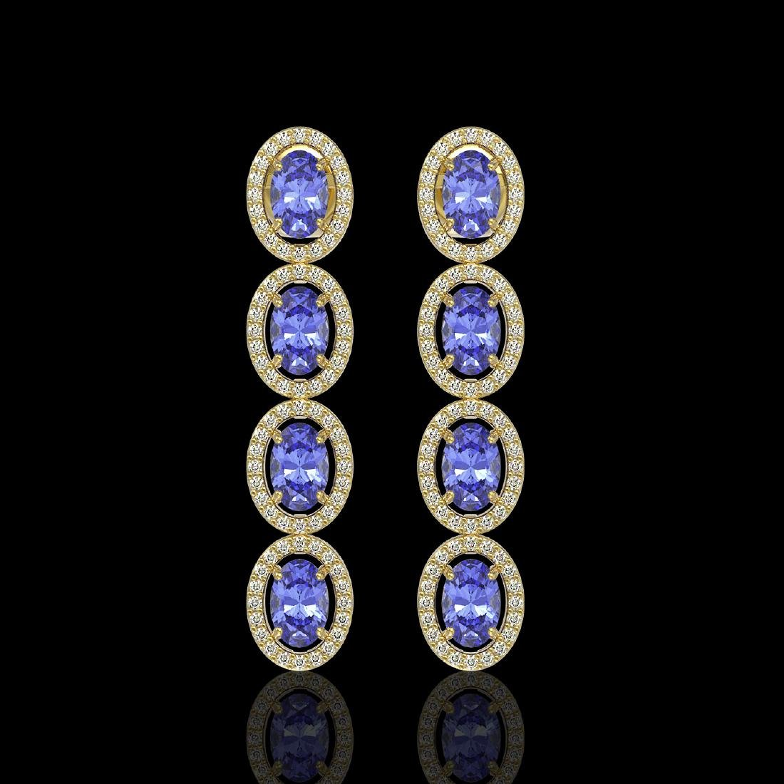6.09 CTW Tanzanite & Diamond Halo Earrings 10K Yellow