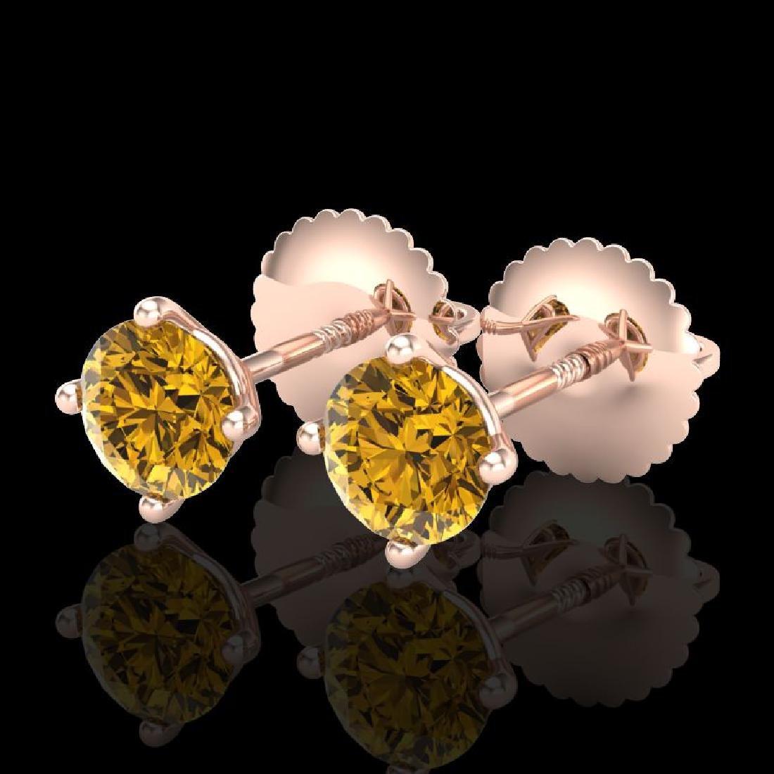 0.65 CTW Intense Fancy Yellow Diamond Art Deco Stud