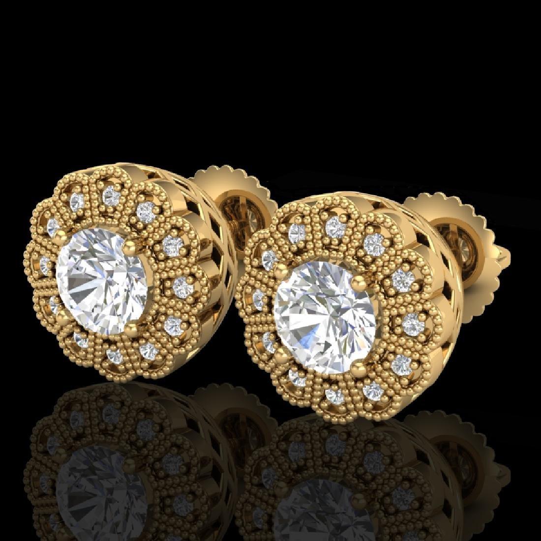 1.32 CTW VS/SI Diamond Solitaire Art Deco Stud Earrings