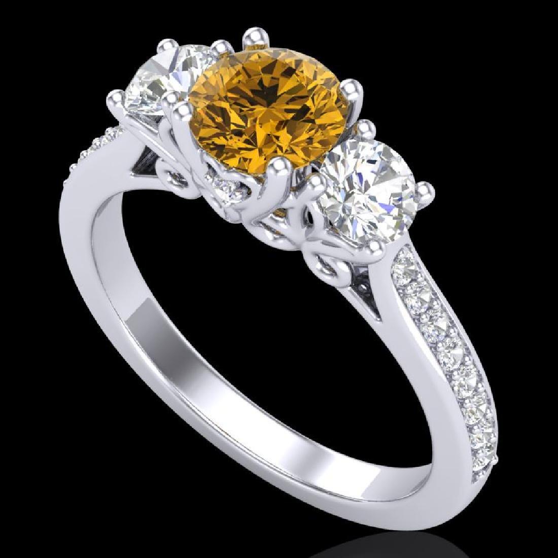 1.67 CTW Intense Fancy Yellow Diamond Art Deco 3 Stone
