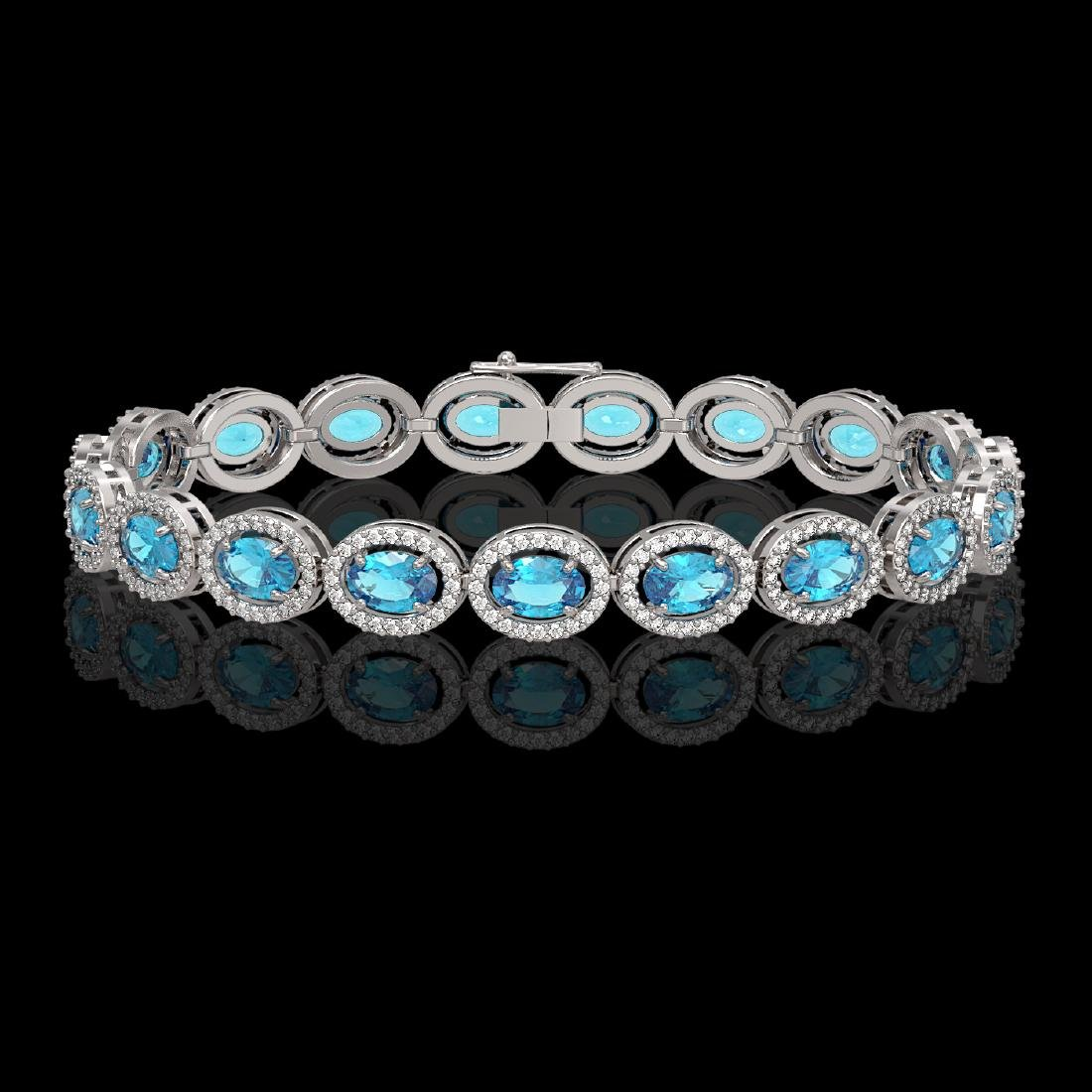 14.82 CTW Swiss Topaz & Diamond Halo Bracelet 10K White