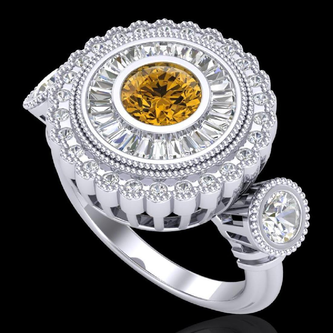 2.62 CTW Intense Fancy Yellow Diamond Art Deco 3 Stone