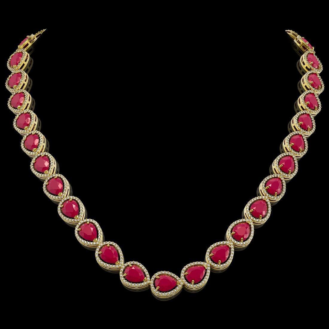 64.01 CTW Ruby & Diamond Halo Necklace 10K Yellow Gold