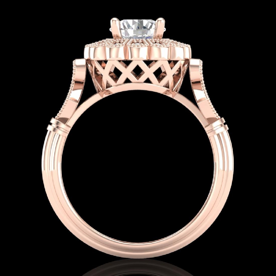 1.2 CTW VS/SI Diamond Solitaire Art Deco Ring 18K Rose