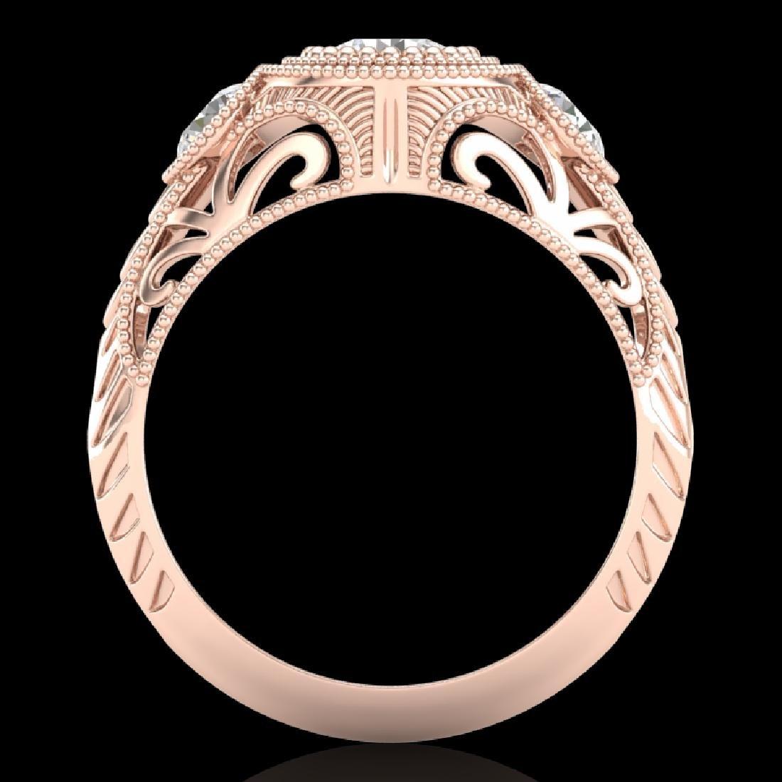 1.06 CTW VS/SI Diamond Solitaire Art Deco 3 Stone Ring