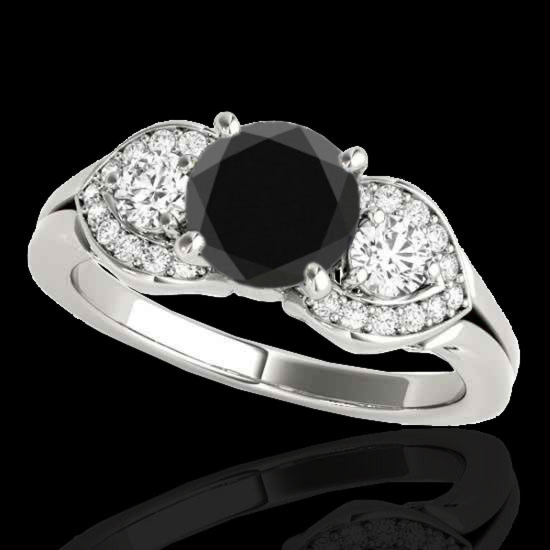 1.7 CTW Certified VS Black Diamond 3 Stone Ring 10K