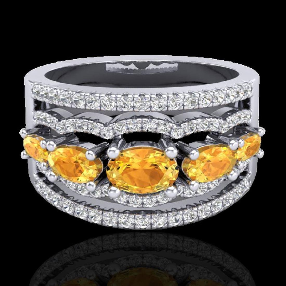2.25 CTW Citrine & Micro Pave VS/SI Diamond Designer