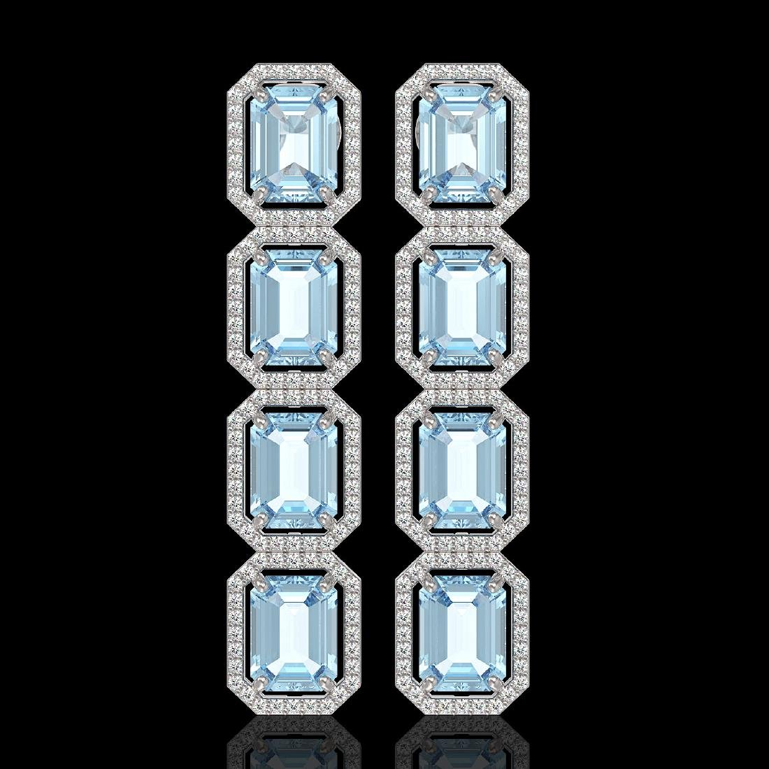 19.49 CTW Aquamarine & Diamond Halo Earrings 10K White