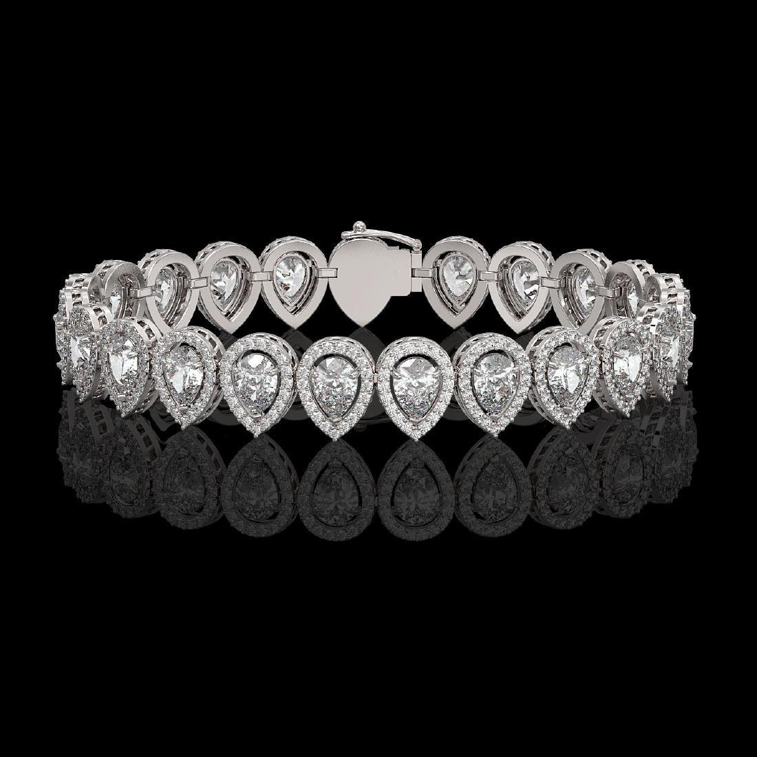 15.85 CTW Pear Diamond Designer Bracelet 18K White Gold