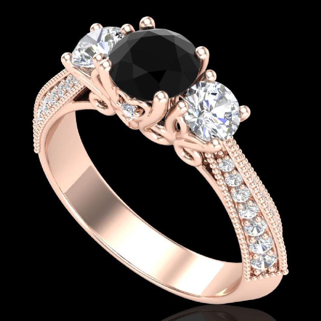 1.81 CTW Fancy Black Diamond Solitaire Art Deco 3 Stone