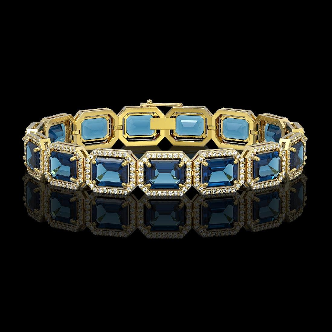 35.61 CTW London Topaz & Diamond Halo Bracelet 10K