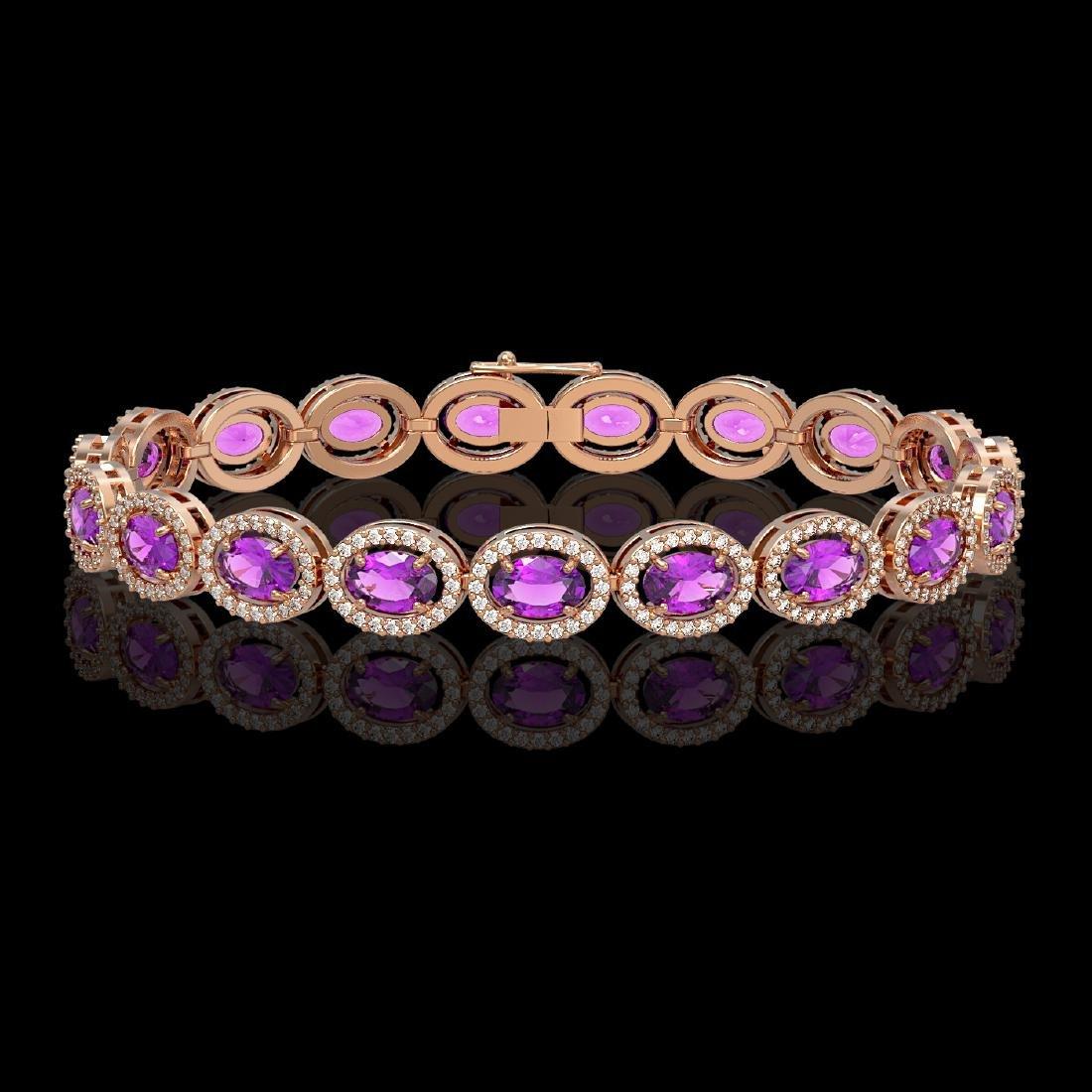 13.11 CTW Amethyst & Diamond Halo Bracelet 10K Rose