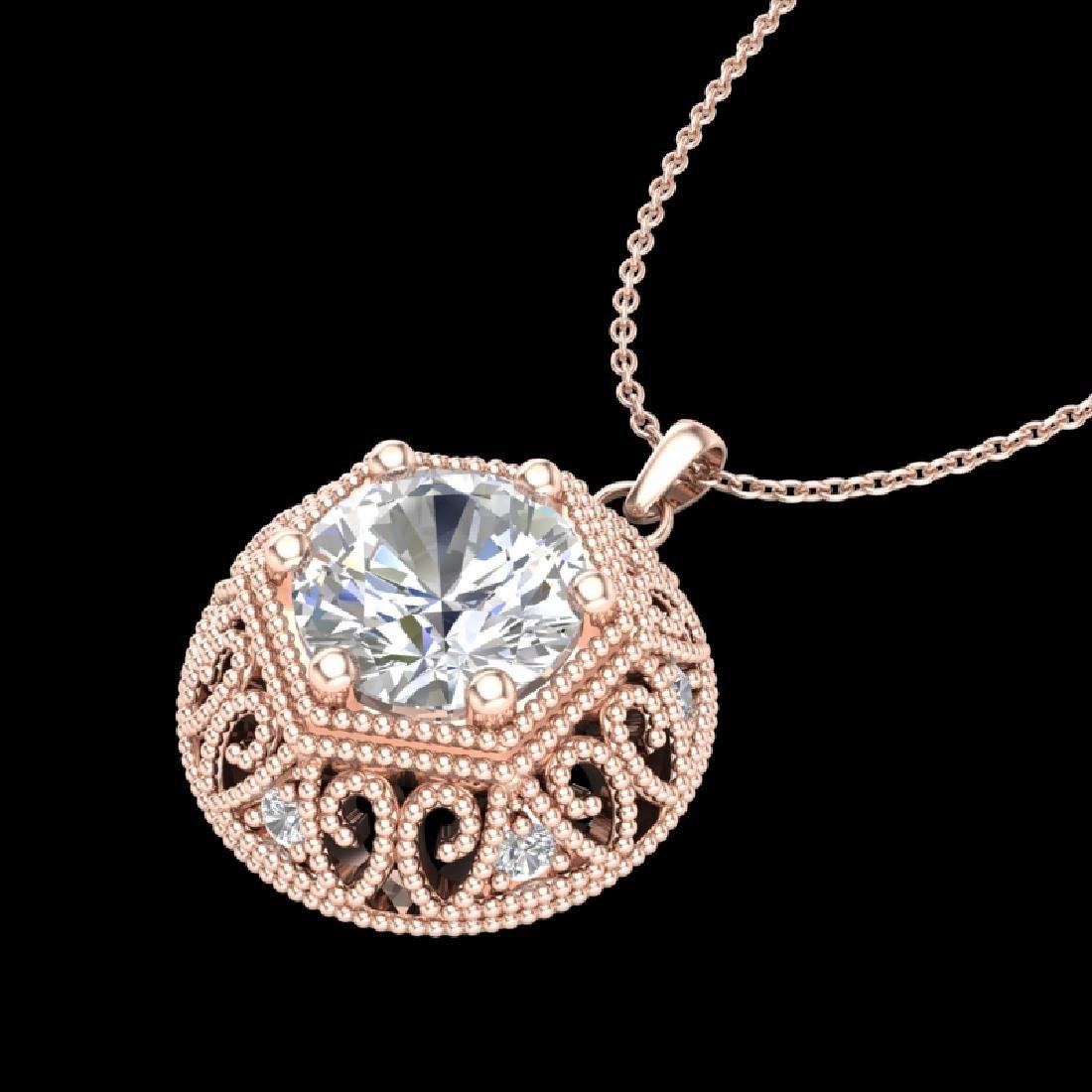 1.11 CTW VS/SI Diamond Solitaire Art Deco Stud Necklace