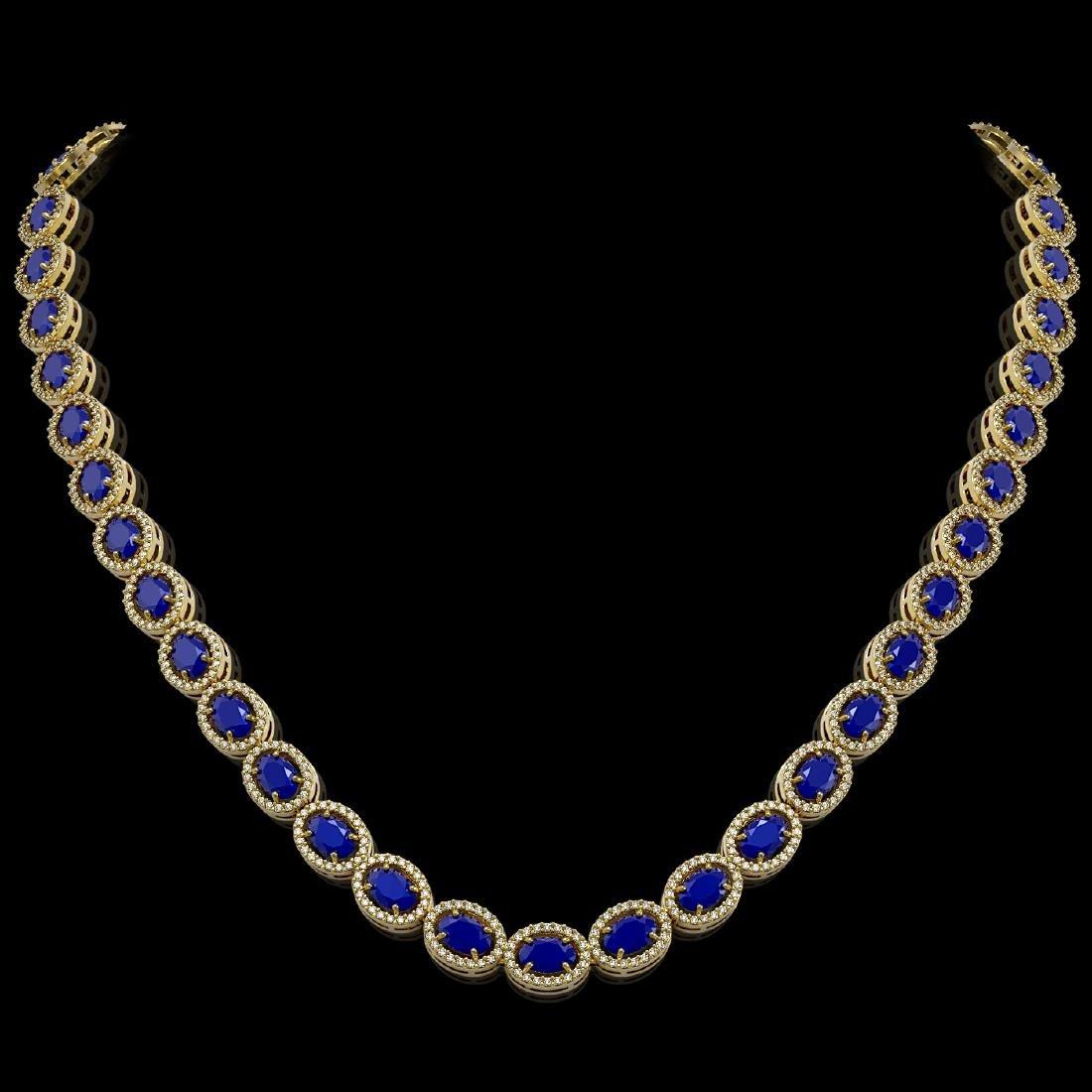 34.11 CTW Sapphire & Diamond Halo Necklace 10K Yellow